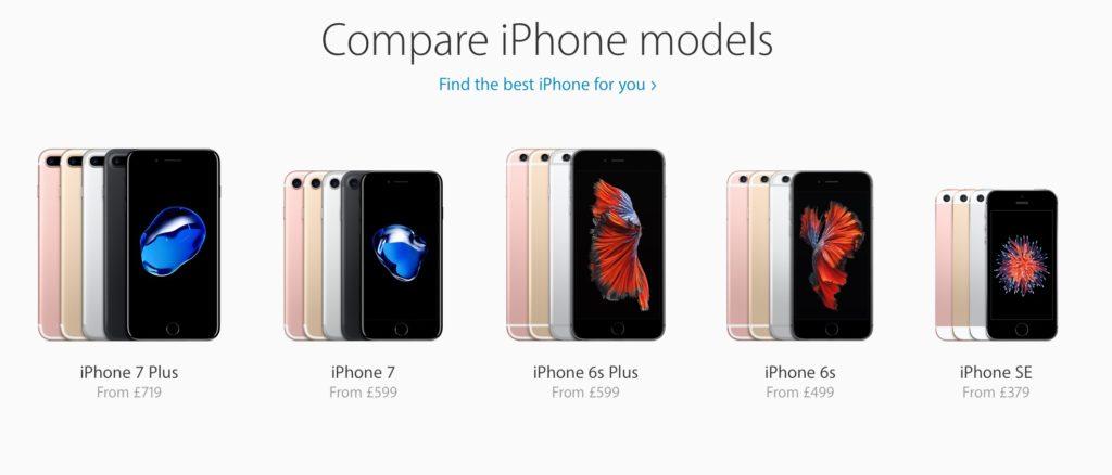 линейка смартфонов от apple