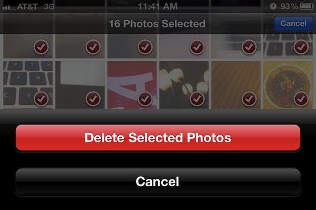 Удалить фотографии из альбома